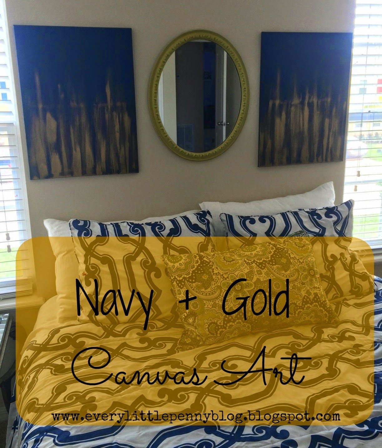 every little penny: Guest Bedroom: Navy + Gold Canvas Wall Art ...