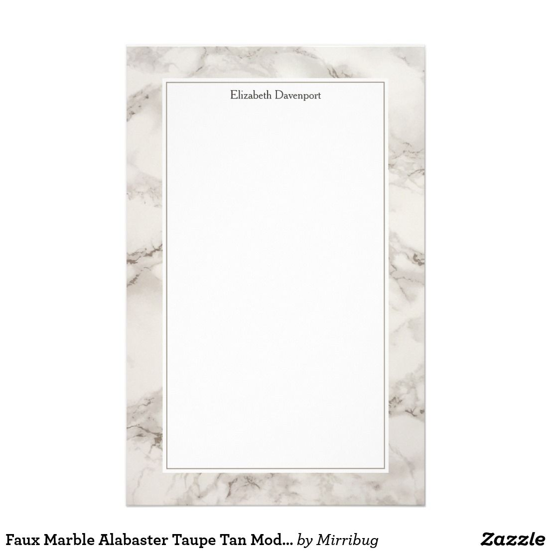 Faux Marble Alabaster Taupe Tan Modern Stationery Zazzle Com