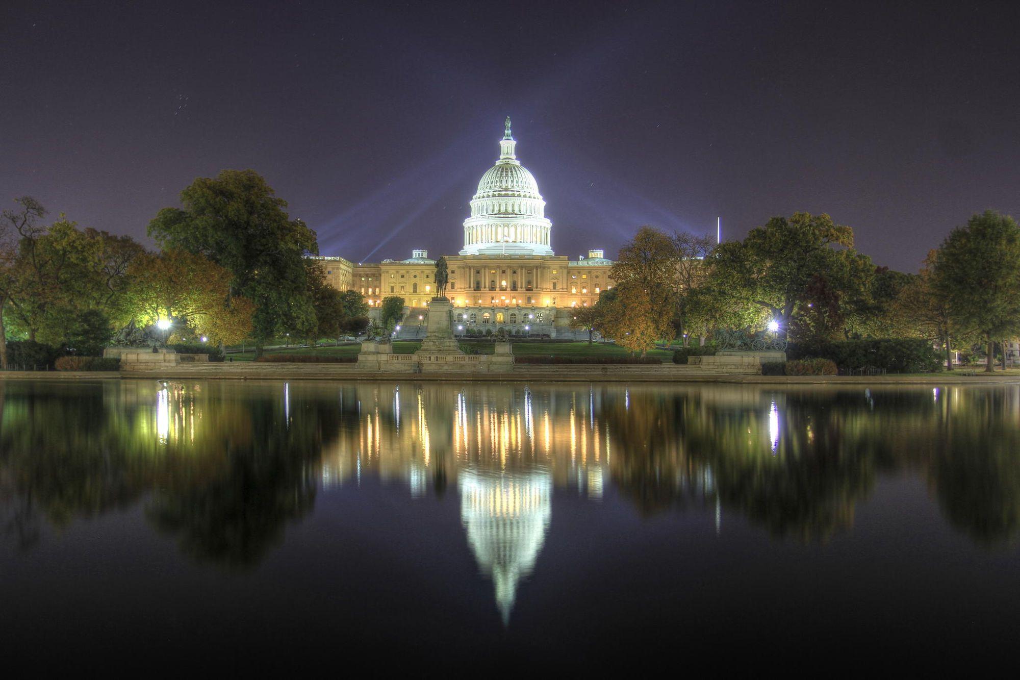 The United States Capitol At Night Washington Dc 3 Photos