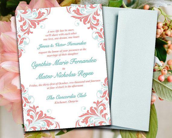 DIY Wedding Invitation Template Mint Blue Coral Peach   Invitations Word  Template  Invitations Word Template