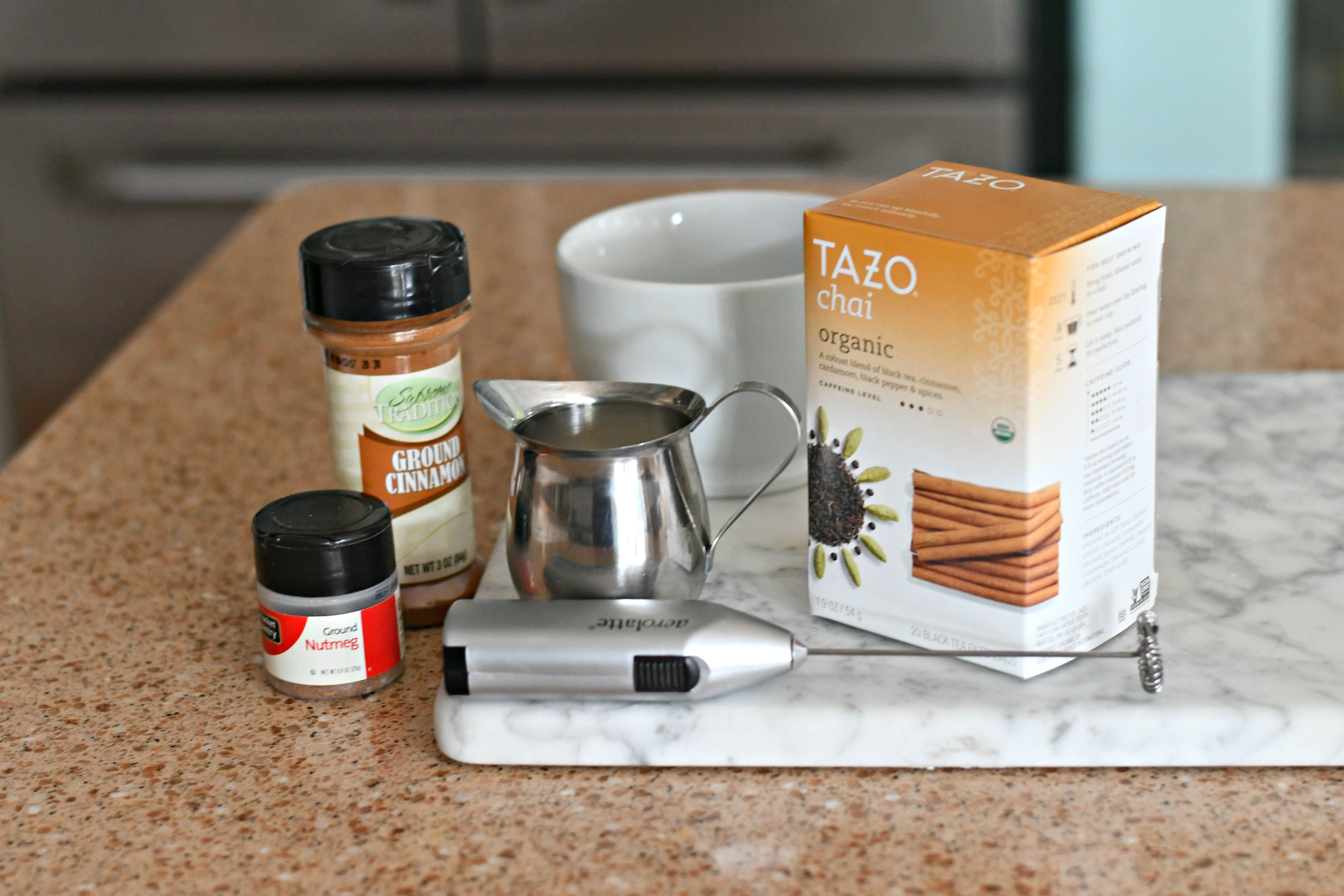 Ingredients to make your own diy starbucks chai latte