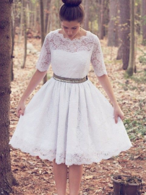 Simple Lace Wedding Dress 3 4-Length