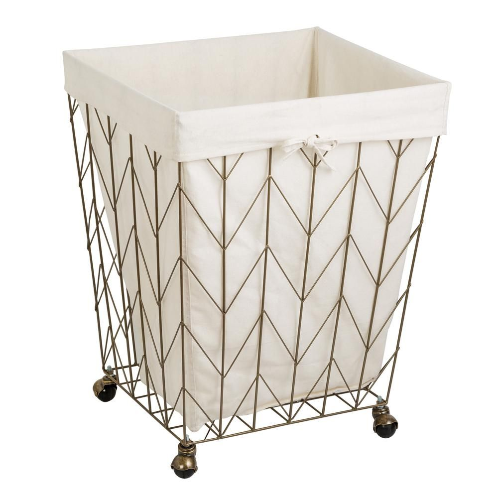 Honey Can Do Coastal Collection Bronze Steal Laundry Hamper With