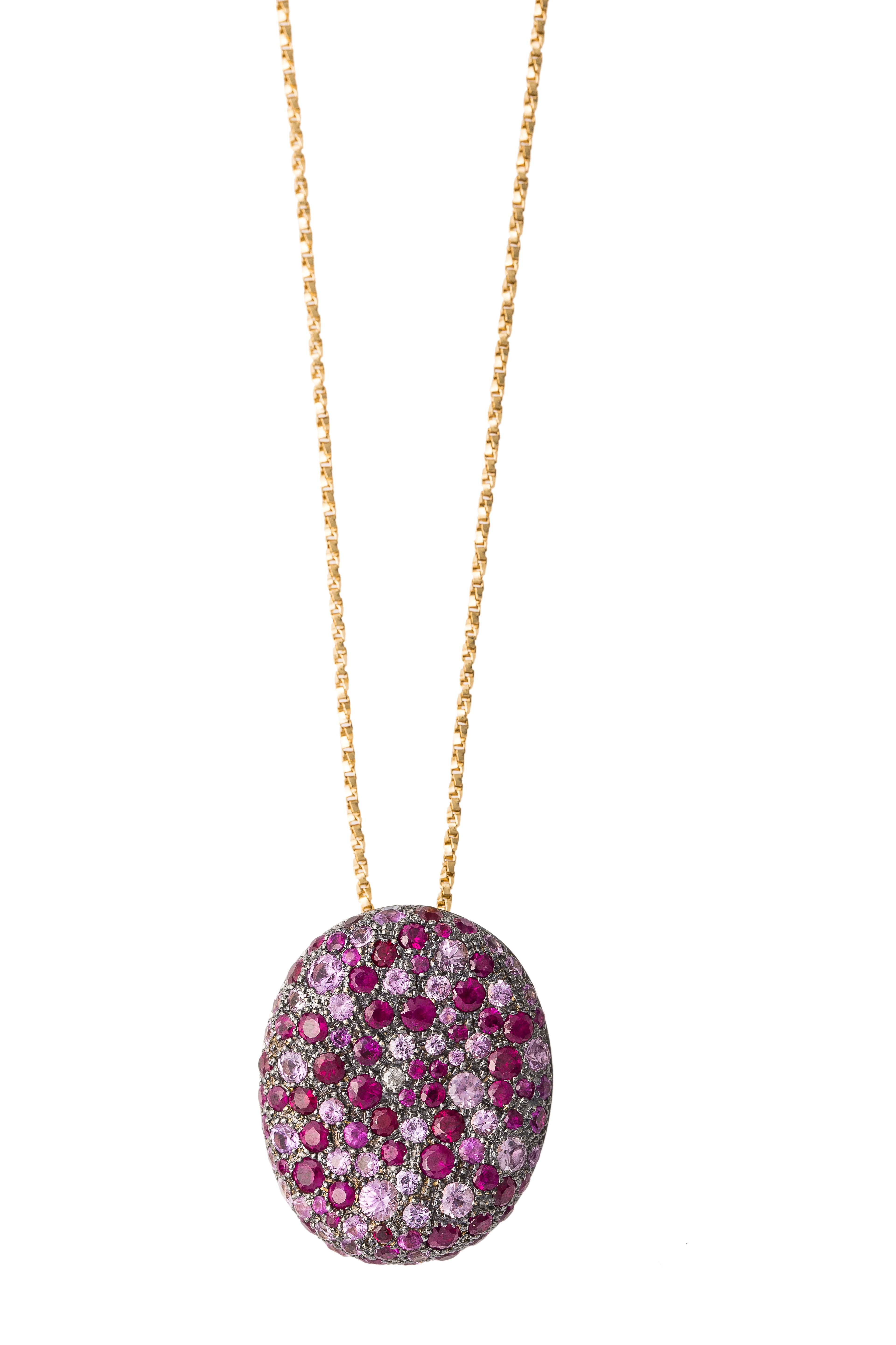 Nada G Malak necklace with k Gold and ct multicolor Saphire