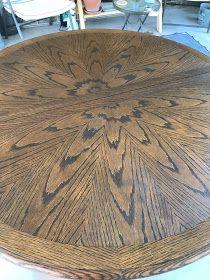 Makeover on a Worn Oak Table to a Farmhouse Fresh