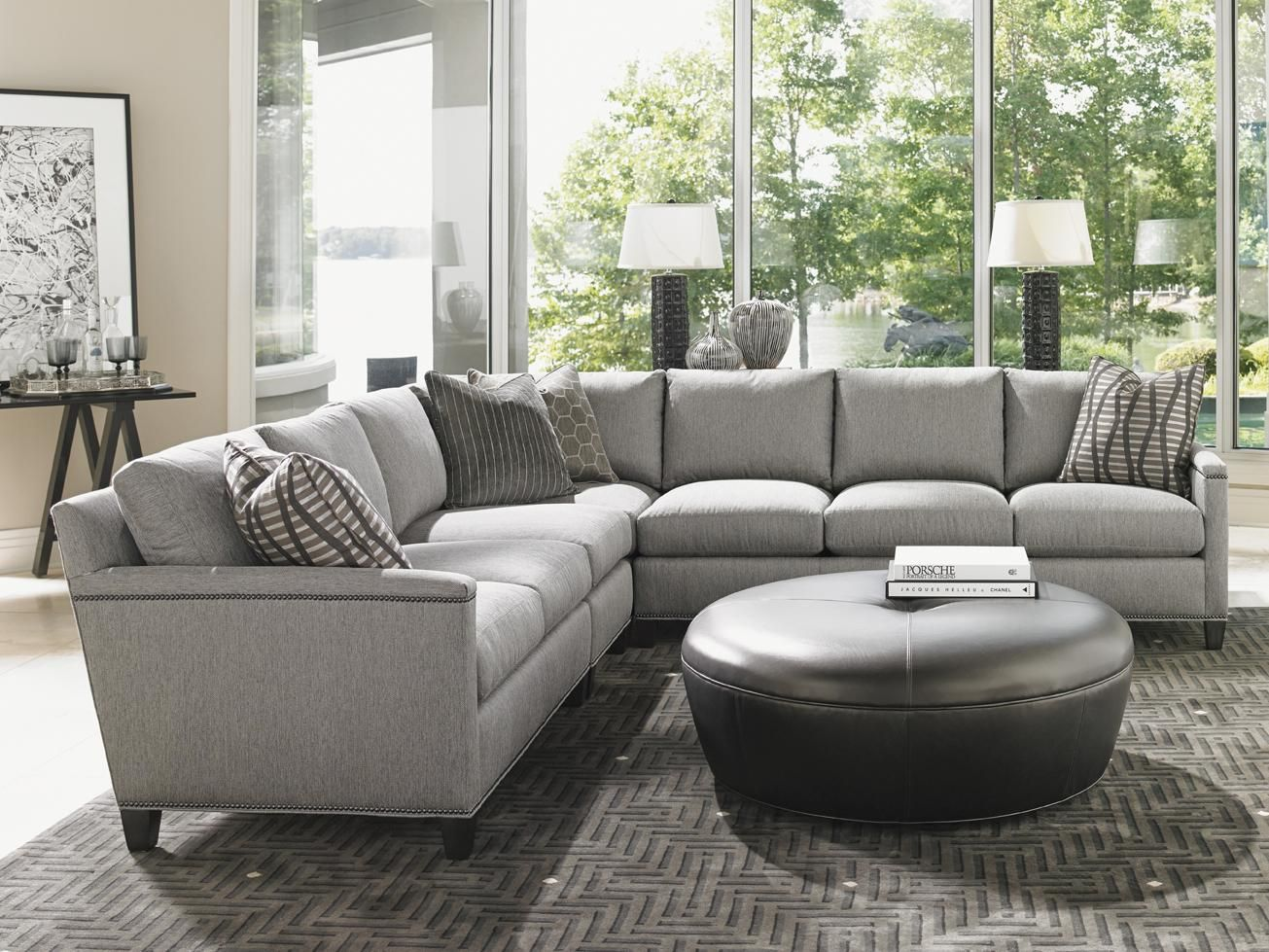 Carrera strada four piece sectional sofa with nailhead trim by lexington at baers furniture