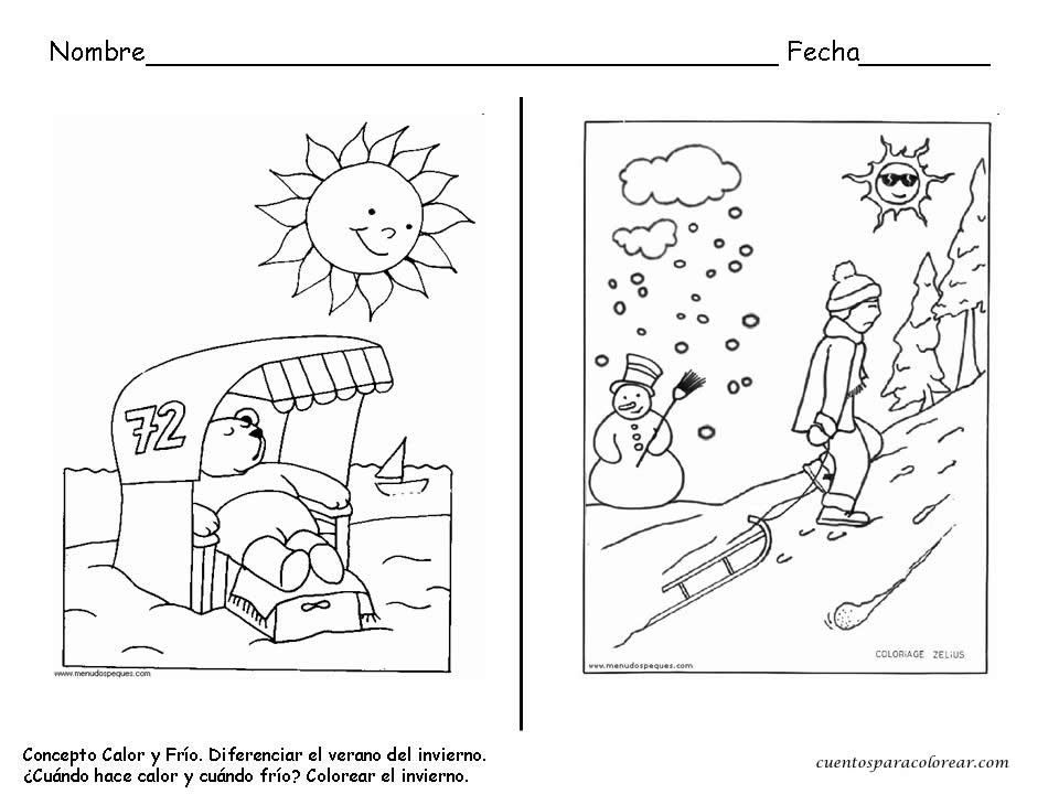 Calor Frio Invierno Fichas Dibujos
