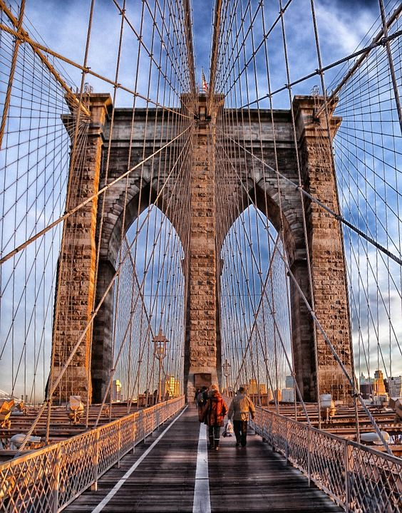 Brooklyn Bridge Suspension Bridge Landmark Historic Brooklyn Bridge New York Brooklyn Bridge New York Travel