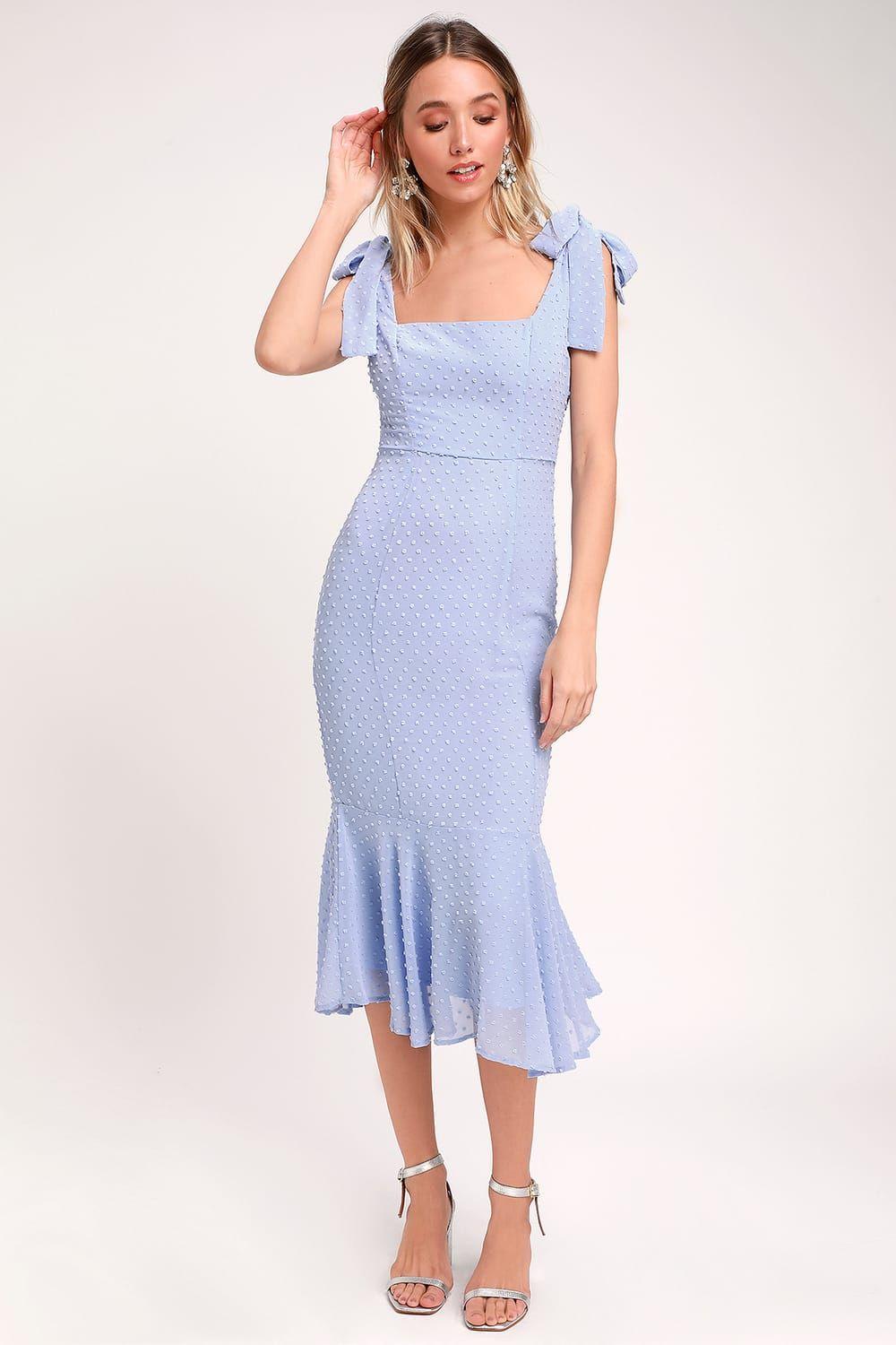 Bimini Periwinkle Blue Swiss Dot Tie Strap Midi Dress Vintage Style Dresses Fashion Dresses Vintage Midi Dresses [ 1500 x 1000 Pixel ]