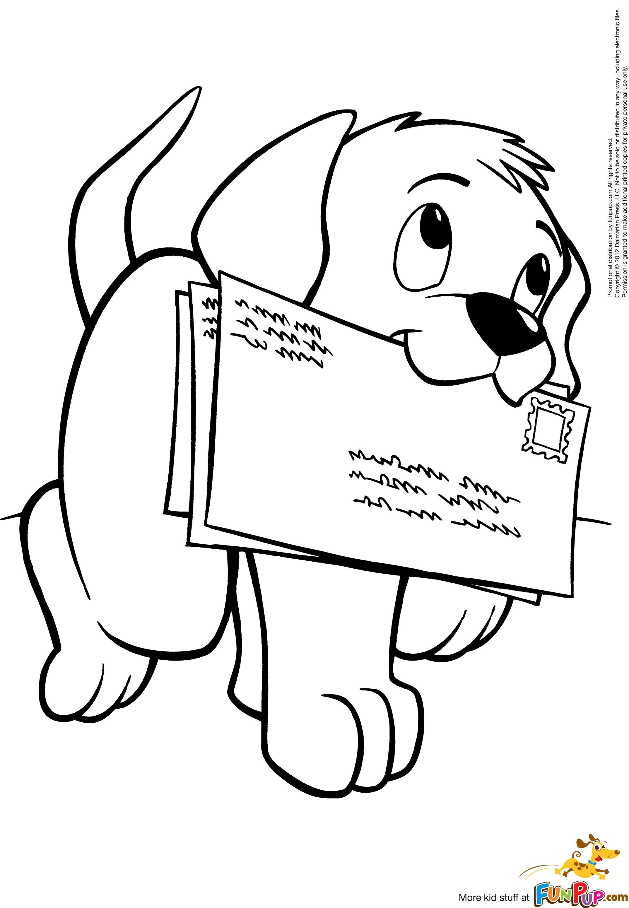 free puppy dog carrying letters to mail printable coloring page it would be fun to print this onto an envelope or make an envelope out of the printed - Free Dog Coloring Pages