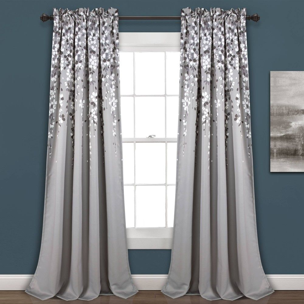 Set Of 2 52 X95 Weeping Flower Room Darkening Window Curtain Panels Gray Lush Decor In 2020 Panel Curtains Window Curtains Curtains