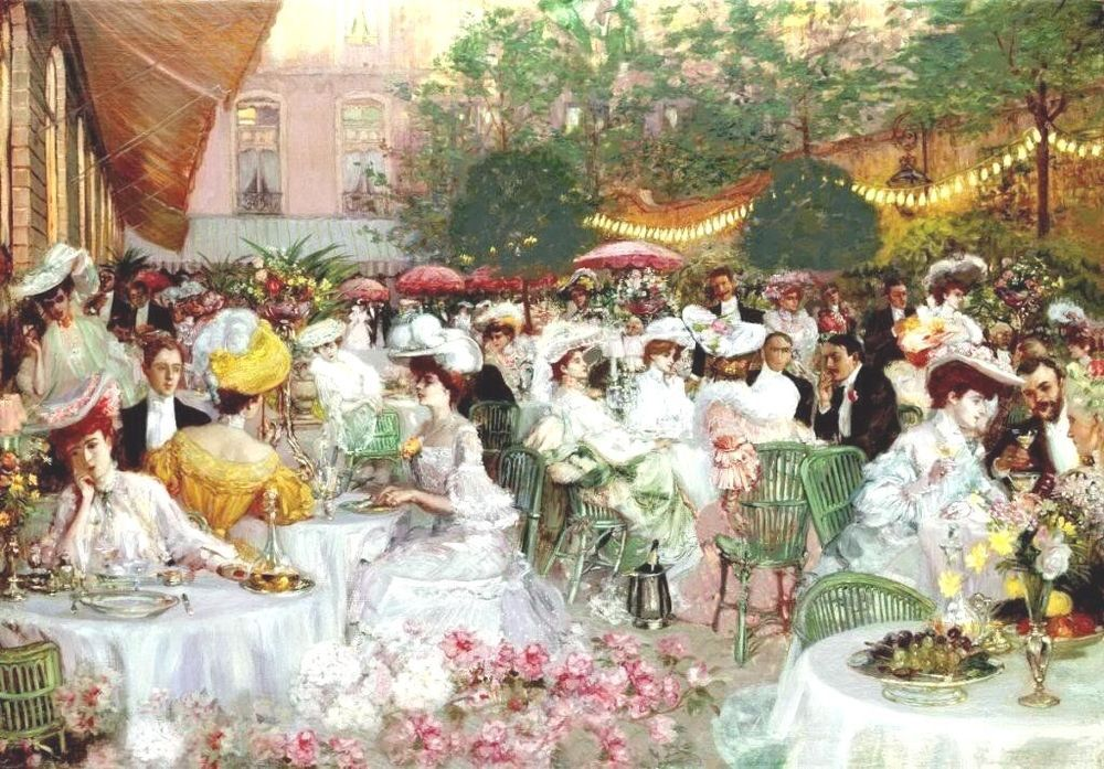Pierre-Georges Jeanniot -Le Dinner 'A L'Hotel Ritz Paris Signed & Framed |  Отели, Живопись, Париж