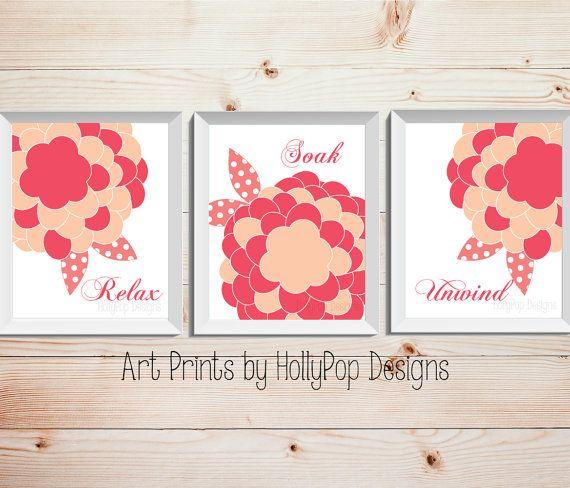 Bathroom Trio Print Set Relax Soak Unwind Adult by HollyPopDesigns