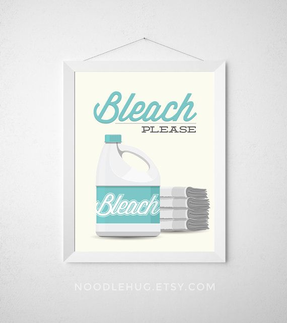 Laundry Room Print Bleach Please Poster Wall Art Dryer