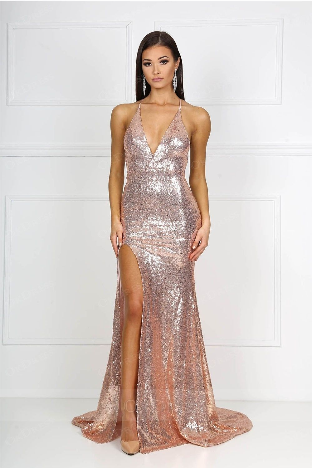 Fomal sequin front slit sequin formal dresses with low back by