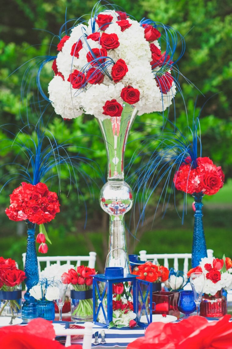 Wedding decoration ideas red and white  Eclectic Red White and Blue Wedding Ideas  Weddings Wedding and