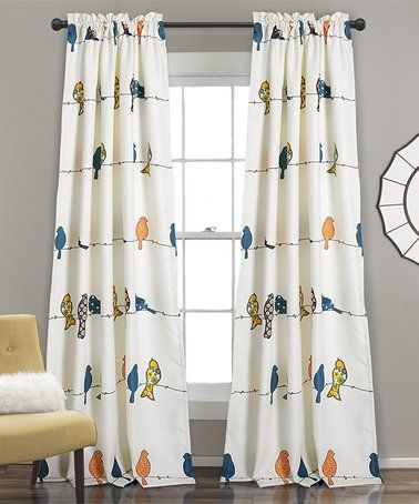 This White Rowley Birds Room Darkening Curtain Panel
