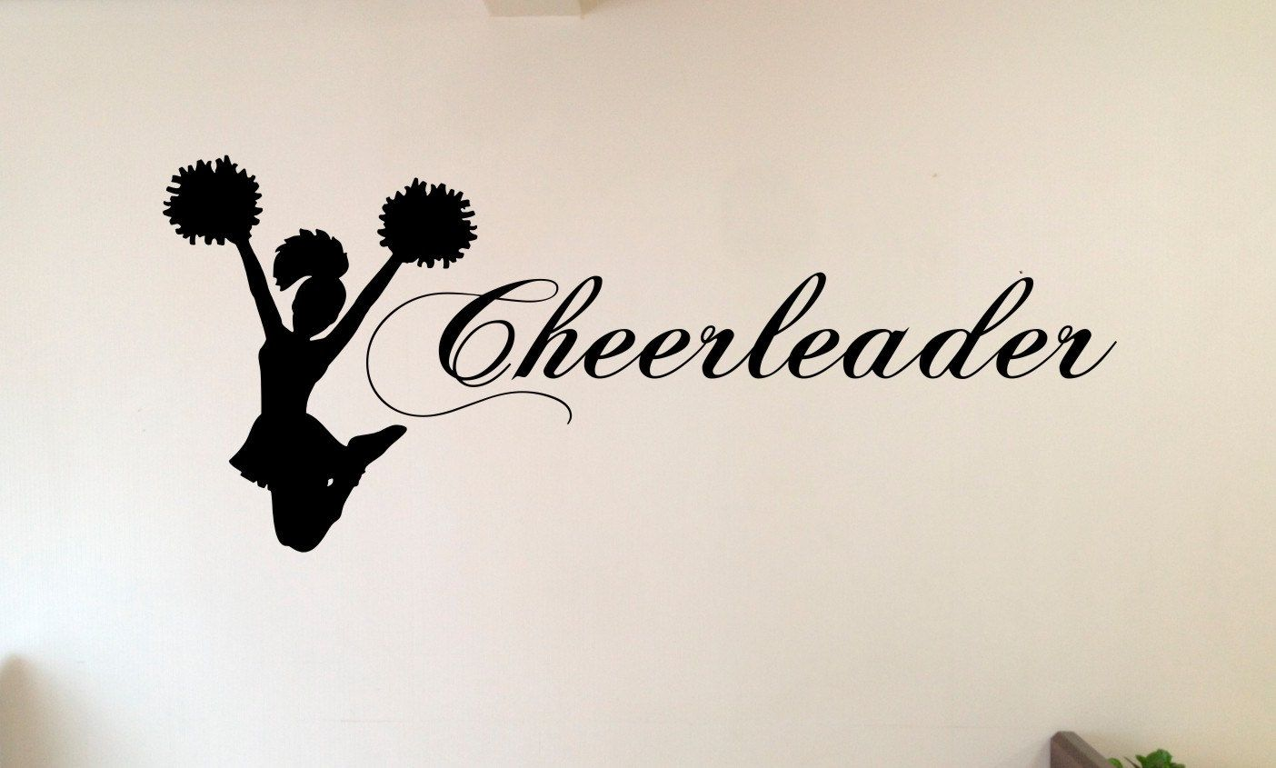 Jumping Cheerleader Vinyl Wall Decal,Wall art,Custom Wall Decal,Vinyl Wall Decal,Removable Wall Vinyl,Girls Vinyl Wall Decal,Bedroom Wall