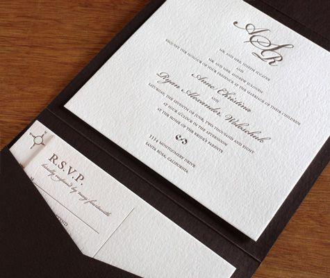 Classic Monogram letterpress wedding invitation design in pocket
