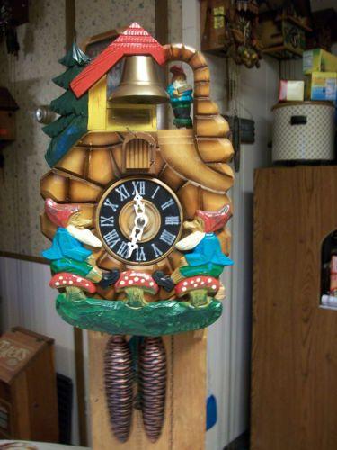 vintage rare gnome bell ringing cuckoo clock cuckoo  vintage german gnome cuckoo clock