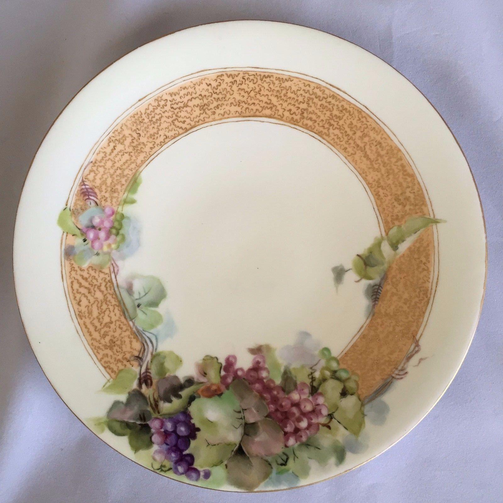 L. France Porcelain Plate Limoges Grape Vines