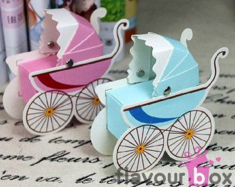 Pink Baby Carriage Pram Baby Shower Christening Favor Gift Box
