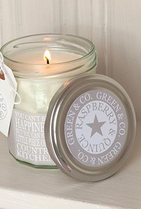 """Country Kitchen Candles  Raspberry & Quince     Beautifully scented """"Country Kitchen"""" candle set within a facetted jam jar (burn time c. 60 hours)    A beautiful candle suitable both as a gift or to keep for yourself! In subtle colours, these english-made candles come in four different fragrances associated with a Country Kitchen Measuring 9.5cm height x 8cm diameter. They are made from natural plant soya.  http://www.greenandcohome.co.uk"""