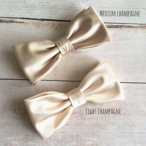 c52913b4415a Champagne Satin Bow tie, Champagne Gold Bowtie, Dark Champagne ...