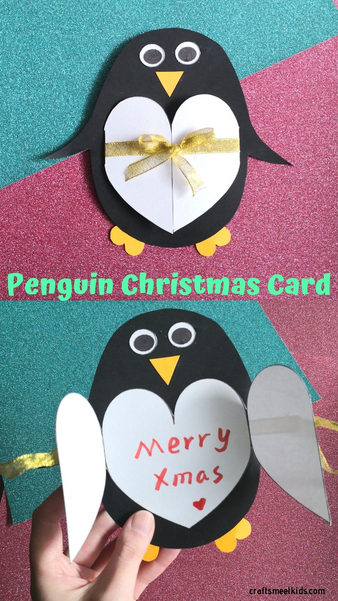 Penguin Christmas Card For Kids