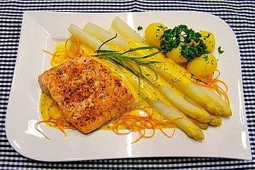 Spargel und Lachs mit Orangensauce #easyshrimprecipes