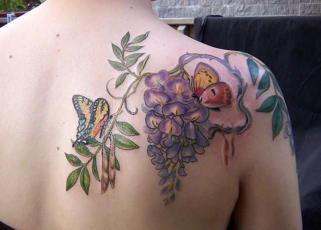 Wisteria Back With Images Lilac Tattoo Tattoos Butterfly Tattoo