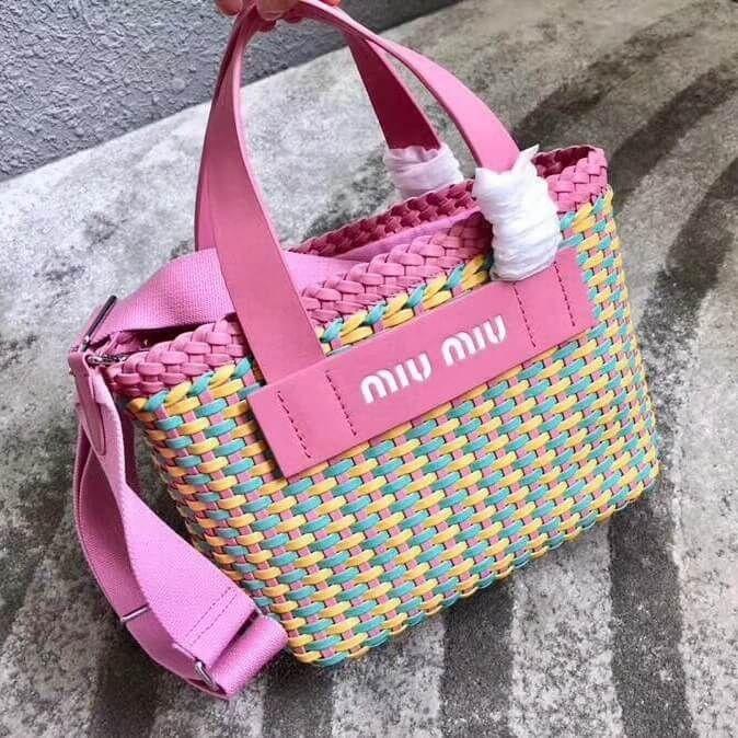 Miu Miu Woven Faux Leather Bag 5BA077 Pink Blue Yellow 2018   Miu ... 033b312028