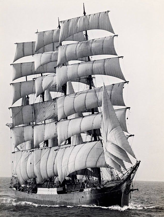 """The last commercial trip of the sailing ship """"Pamir"""" in 1949 round Cape Horn, the ship became obsolete and gave way to more modern vessels."""