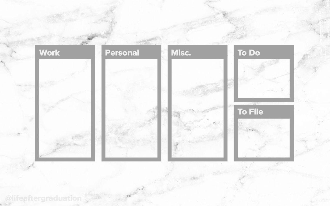 White Marble Desktop Organizer And Wallpaper Desktop Wallpaper Organizer Marble Desktop Wallpaper Desktop Organization