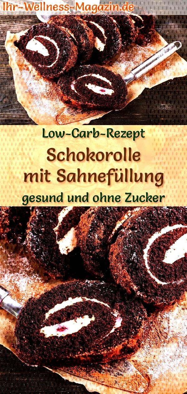 Low carb chocolate roll with cream filling - recipe without sugar - Simple chocolate roll with cre