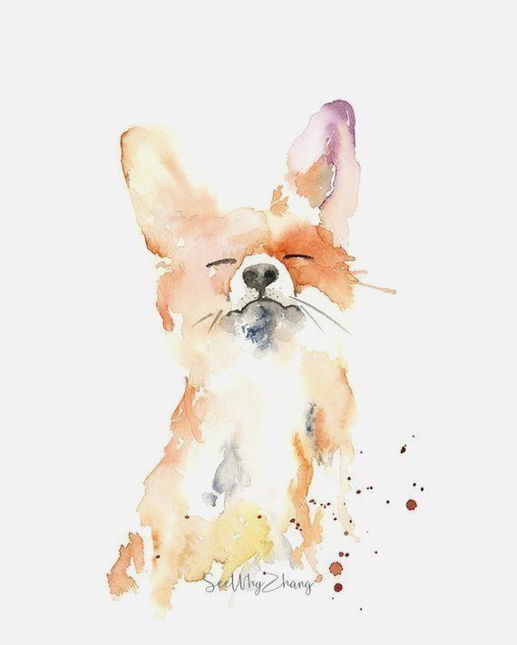 Proud Fox Watercolor Fine Art Print – modern wild animal art, watercolor fine art for fox lovers, pl
