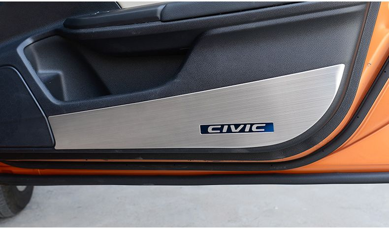 2016 2020 Honda Civic Stainless Steel Door Anti Kick Pad Protection Honda Civic Accessories Civic Accessories Civic Hatchback