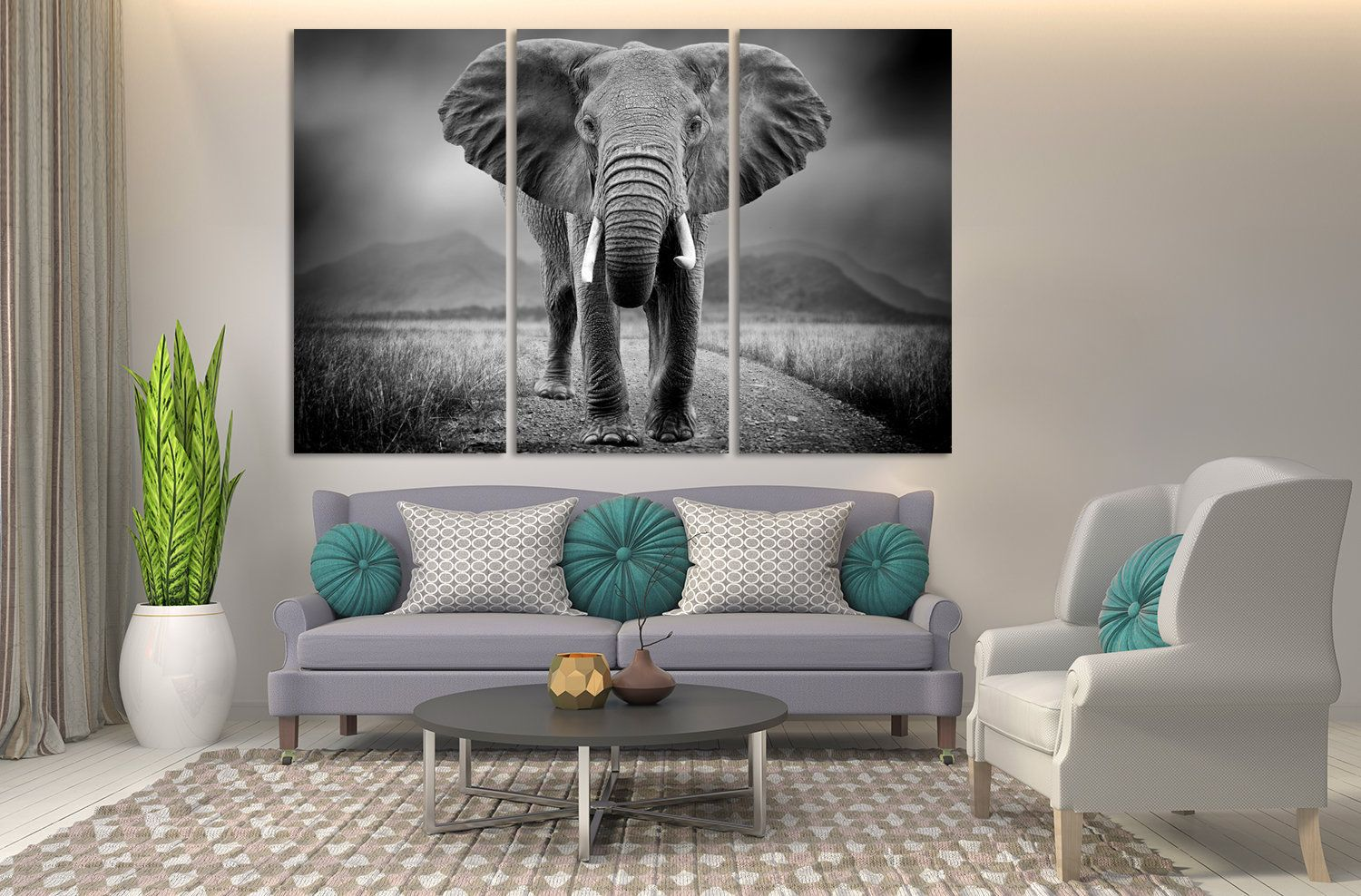 Black And White African Elephant Extra Large Canvas Wall Art Elephant Wall Art Housewarming Gift Extral Large Canvas Wall Art Elephant Wall Art Wall Canvas