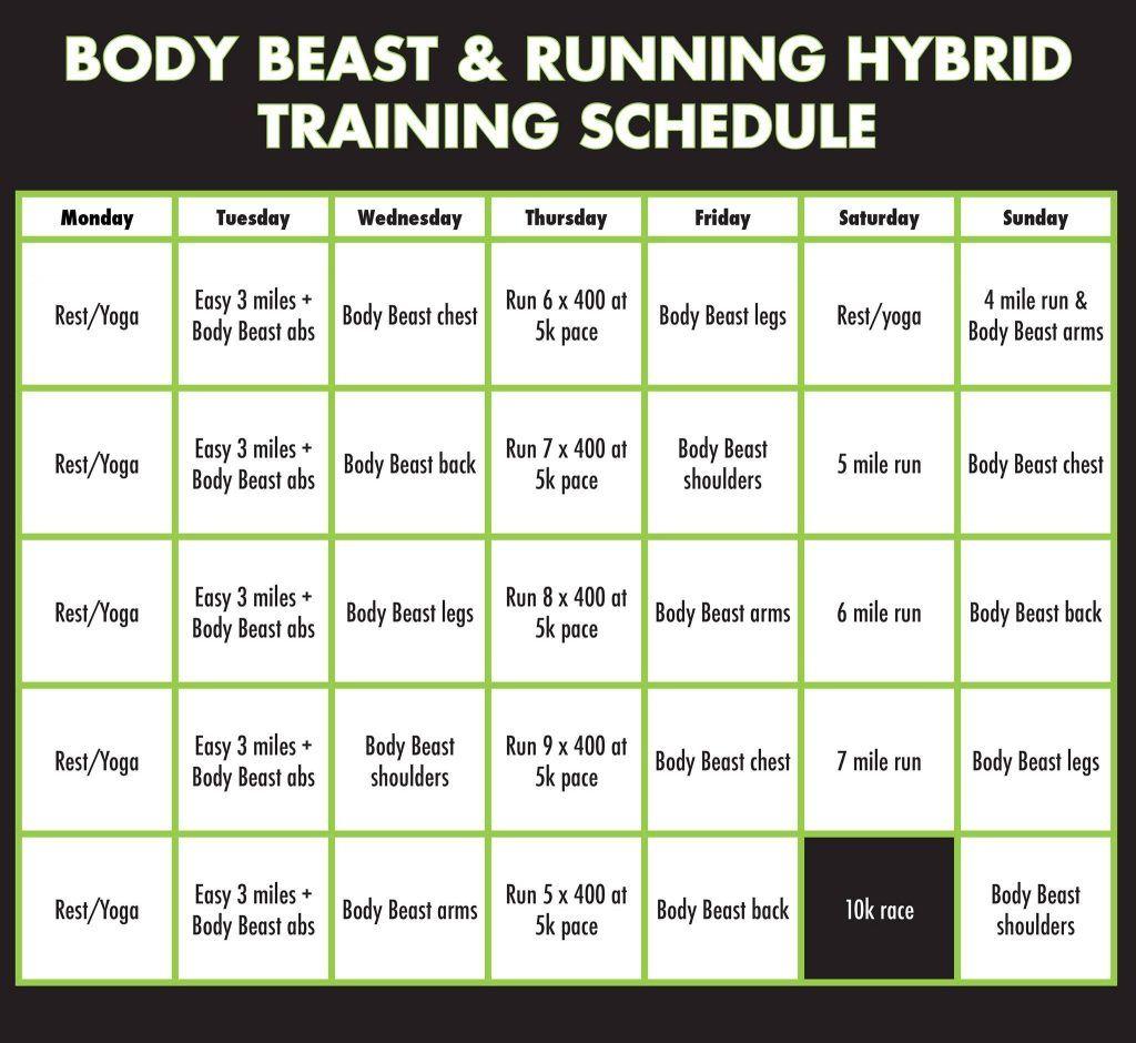 Body Beast Schedule Printable Body Beast Running Hybrid