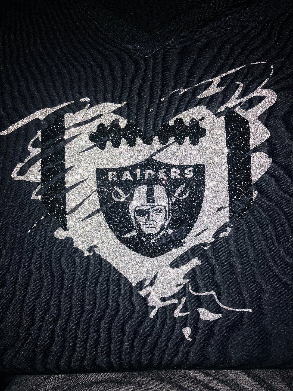 fc32661c Oakland Raiders women glitter shirt, Raiders football shirt, Raiders ...