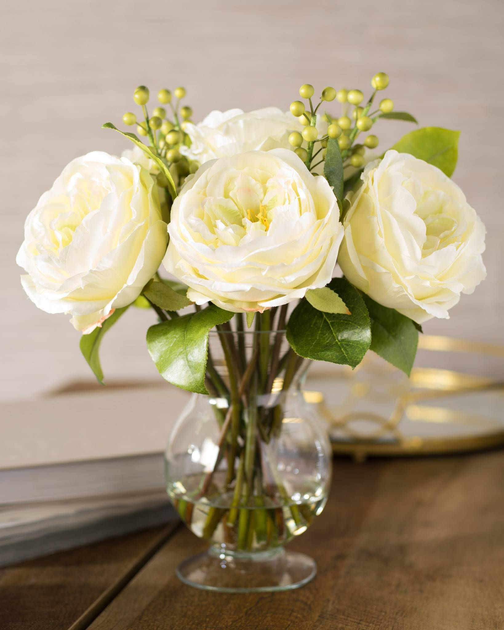 White Garden Rose Flower Arrangement Flower Arrangements White Flower Arrangements Artificial Flower Arrangements