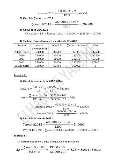 Les Amortissements 3 Tds Corriges Cours Fsjes Language Sheet Music Renault