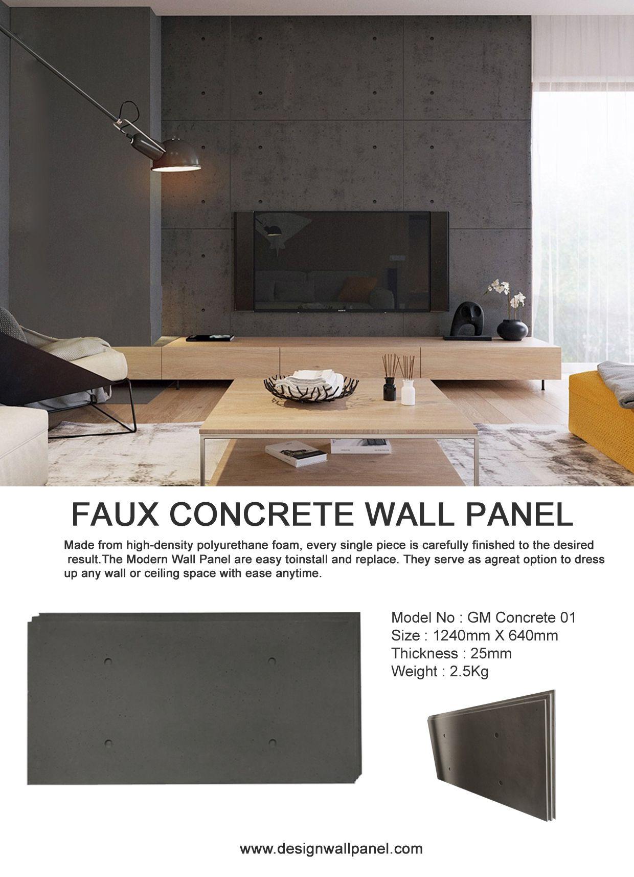 Faux Concrete Wall Panel In 2020 Faux Brick Walls Interior Wall Design Faux Concrete Wall