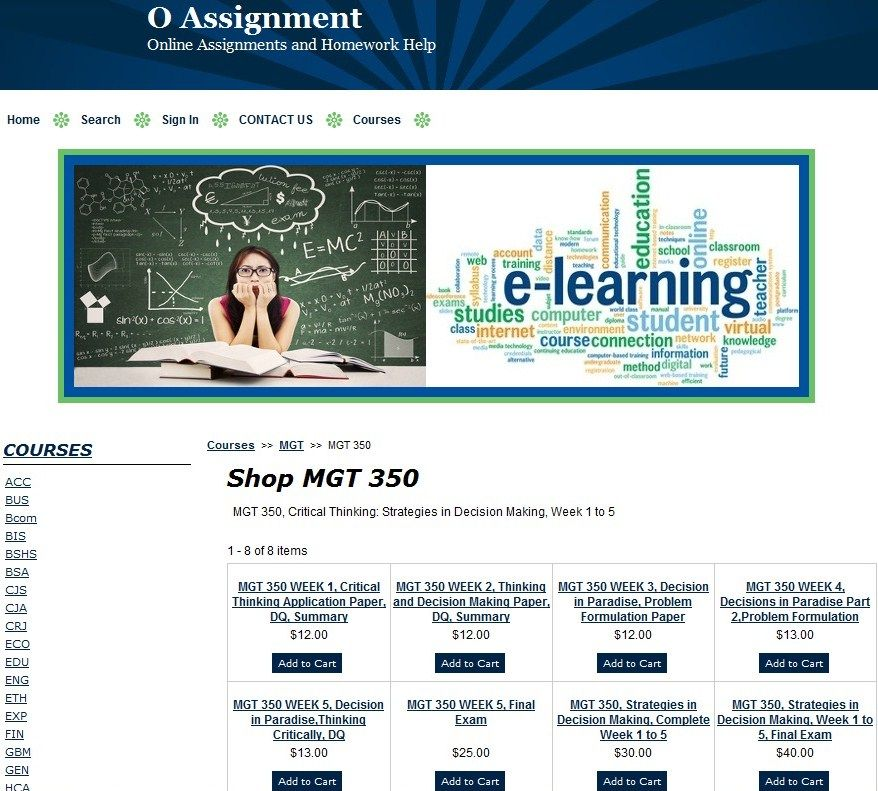 MGT 350, Strategies in Decision Making, Week 1 to 5 + Final Exam