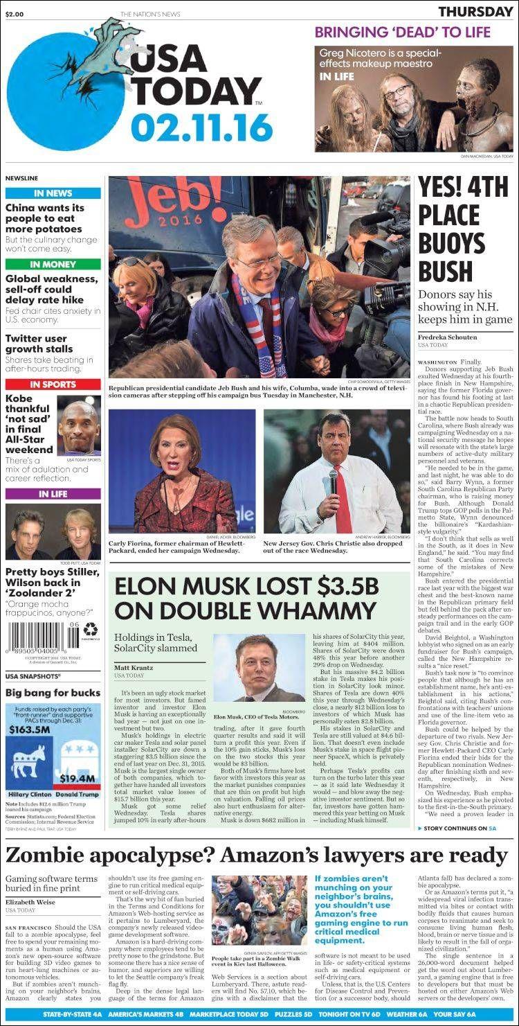 #20160211 #USA #USAtoday #NEWSpaperUSA Thursday FEB 11 2016 http://en.kiosko.net/us/2016-02-11/np/usa_today.html