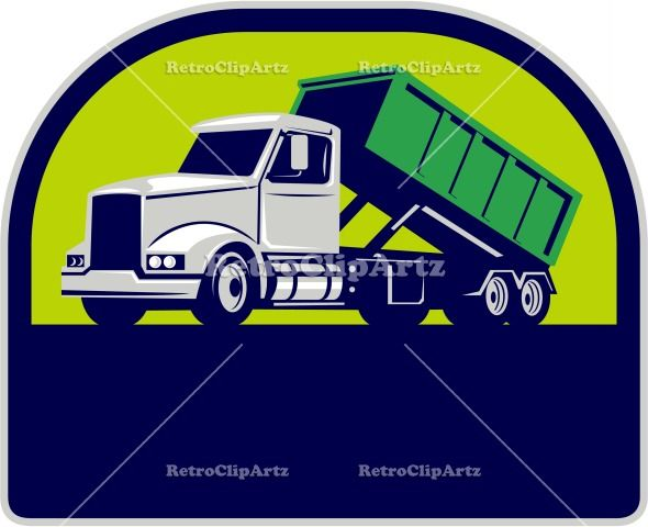 Roll-Off Truck Side Up Half Circle Retro Vector Stock Illustration. Illustration of a roll-off truck with container bin on back viewed from side set inside half circle done in retro style. #illustration #Roll-OffTruck