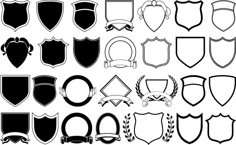 Free Vector A Variety Of Shield Shapes Vector Desain Logo Desain Wallpaper Ponsel