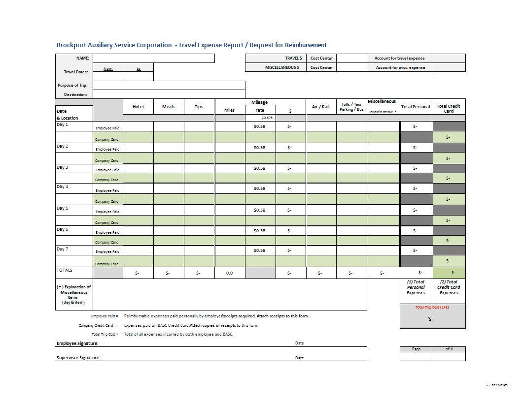 Request Reimbursement And Travel Expense Report Template
