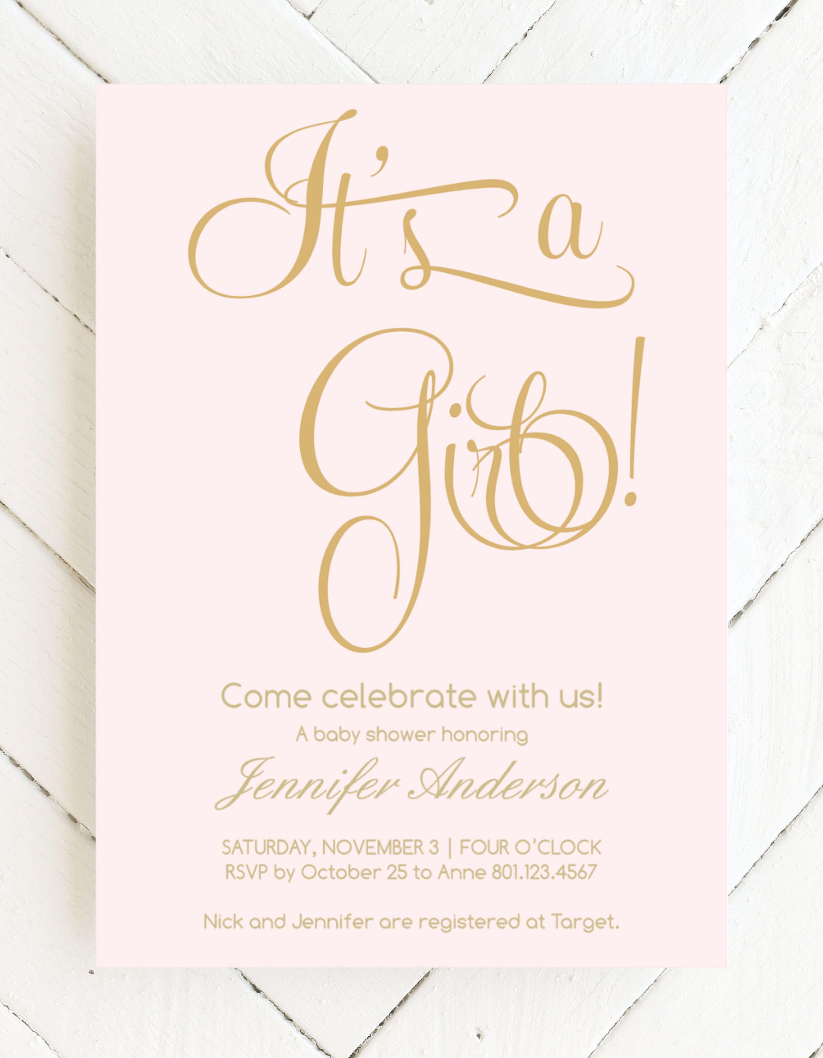 Blush Gold Baby Shower Invitations Gold Baby Shower Invitations Vintage Baby Shower Invitation Pink Baby Shower Invitations