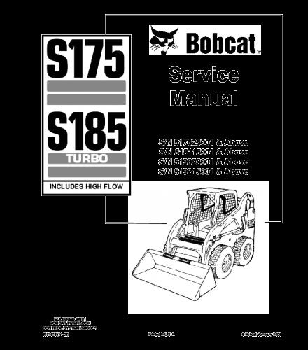 Bobcat s175, s185 skid steer loader series service repair